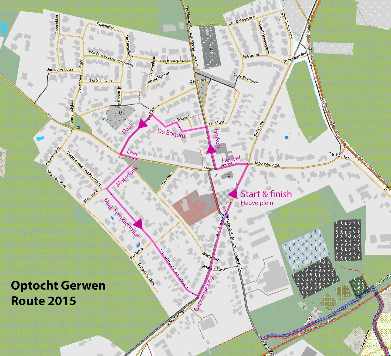 Optocht Gerwen nieuwe route 2015