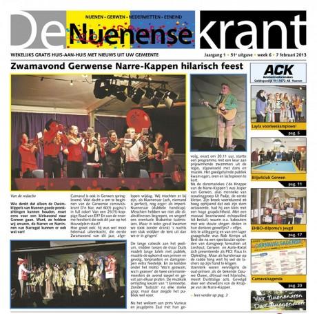 De Nuenense Krant voorpagina