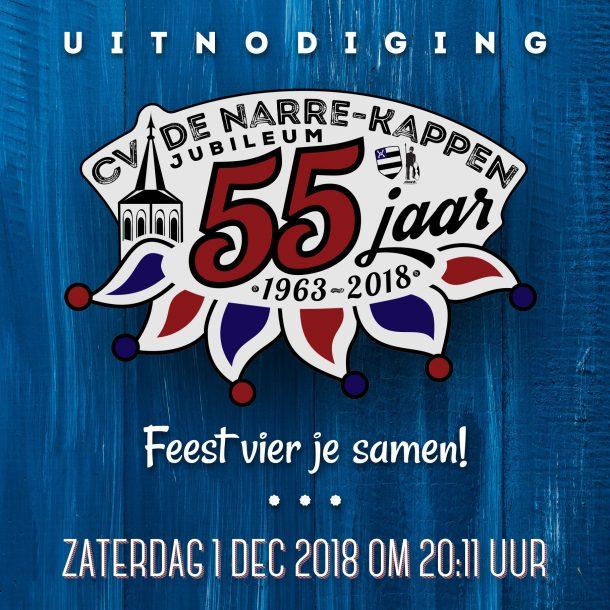 Aankondiging jubileumsfeest 55 jr De Narre-Kappen vierkant