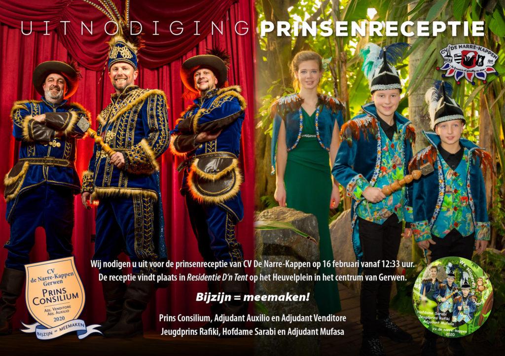 Uitnodiging prinsenreceptie CV De Narre-Kappen 2020