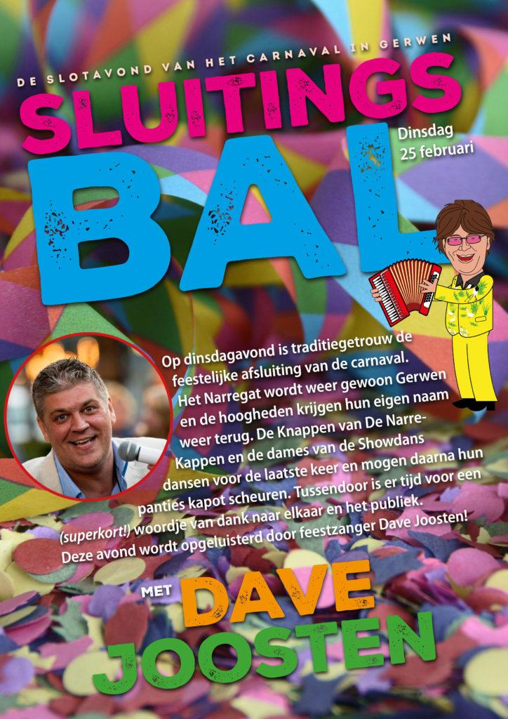 Sluitingsbal met feestzanger Dave Joosten