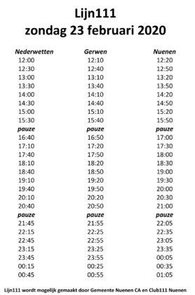 Lijn 111 haltetijden zondag 23 feb
