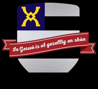 Het wapen van Gerwen met de eerste regel van het Gerrewus volkslied