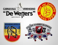 Logo's van de vier carnavalsverenigingen van gemeente Nuenen c.a.